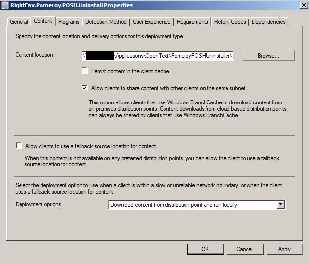 PowerShell Uninstall Automation - ConfigMgr App Content