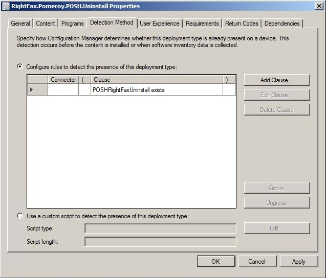 PowerShell Uninstall Automation - ConfigMgr App Detection