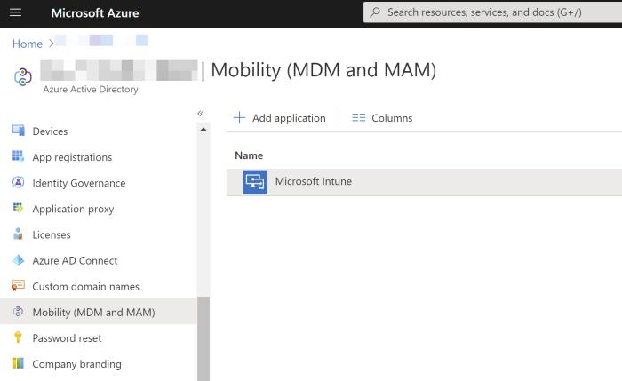 Azure AD Mobility MDM & MAM Settings